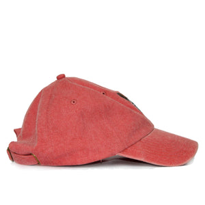 Boston Terrier Hat - Red. Vintage. Washed Cotton. Side View. Ruperto