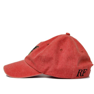 Boston Terrier Hat - Red. Vintage. Washed Cotton. Right Side View. Ruperto