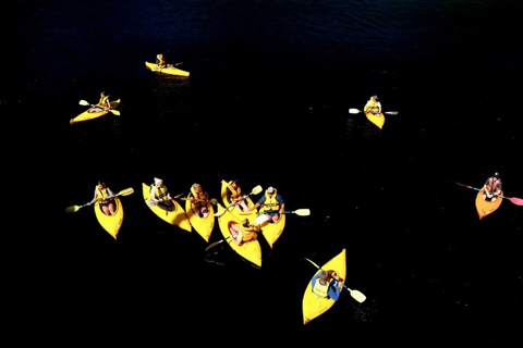 An aerial view of the sea kayaking team
