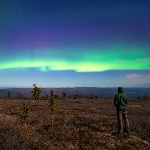 A man viewing the Northern lights