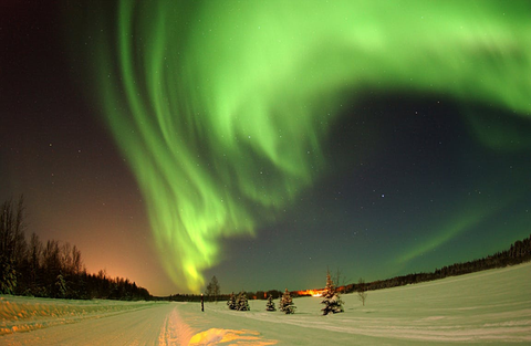 Green streams of light in the sky at night.