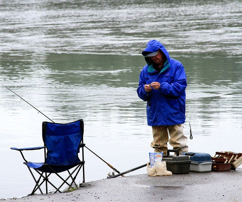 A person wearing the right gear for fishing