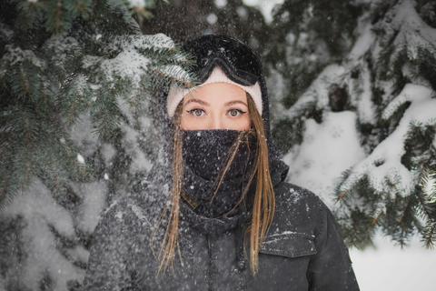 A girl clad in winter clothing in Alaska