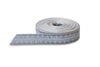Grey Woven Edge Ribbon with Printed White Flower Pattern