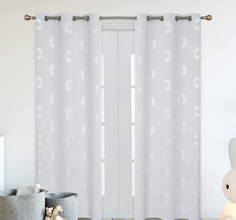 Blackout Curtains with Printed Circles Pattern Grommets