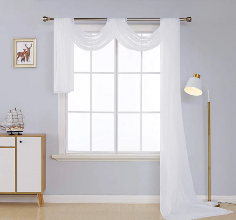 Solid Color White Sheer Curtain Valance