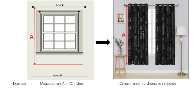 image of a curtain showing length measurement