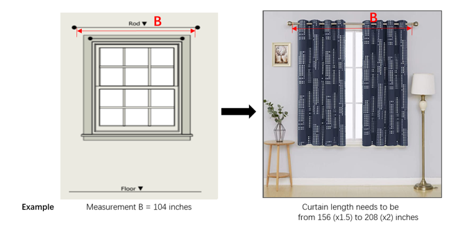 image of curtain showing how to measure the width
