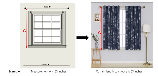 image of curtain length measure