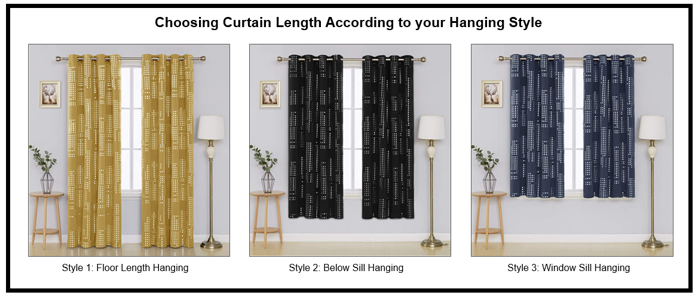 Image of 3 curtains measure with different hanging style