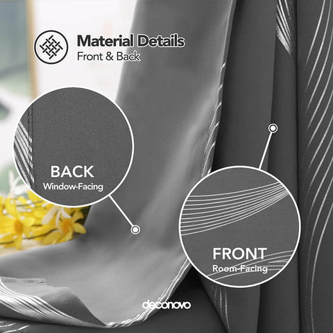 Image showing deconovo wave pattern blackout curtain front and back side