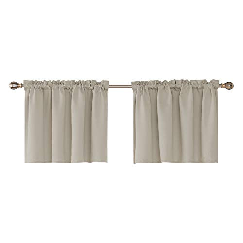 Deconovo Textured Embossed Window Valance Rod Pocket Blackout Valance Curtains (5800214233253)