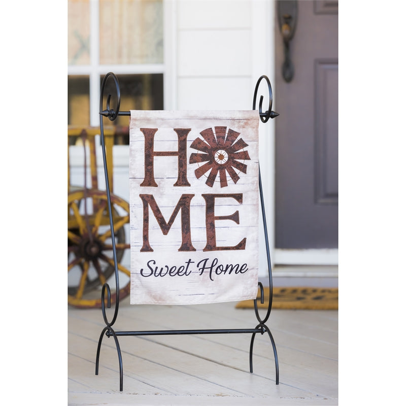 +E WINDMILL HOME SWEET HOME GARDEN LINEN FLAG