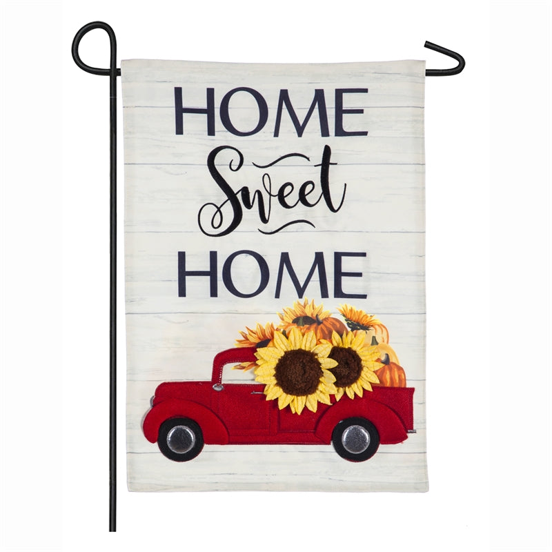 *E HARVEST RED TRUCK GARDEN LINEN FLAG