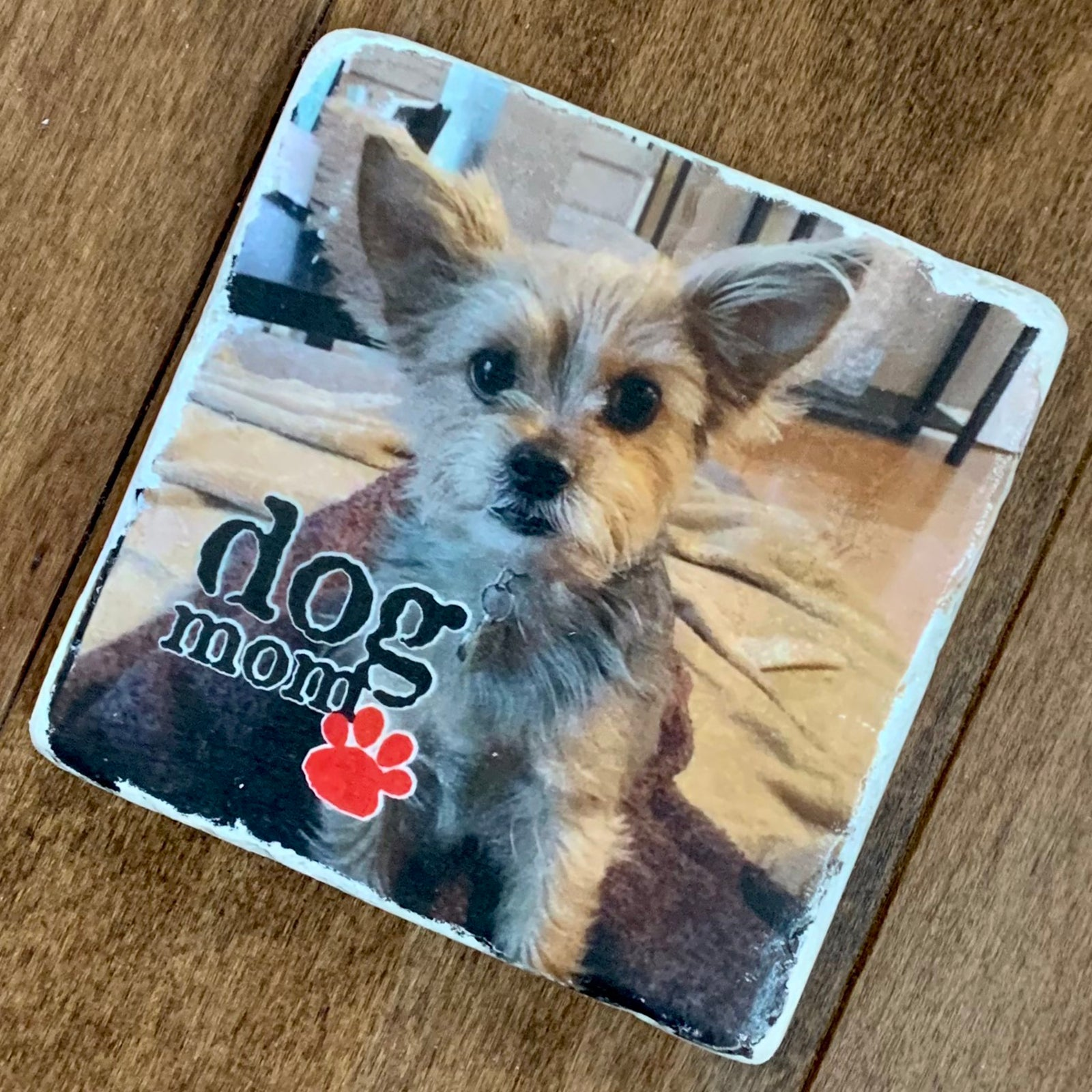 Dog Mom Natural Stone Coaster - Customized