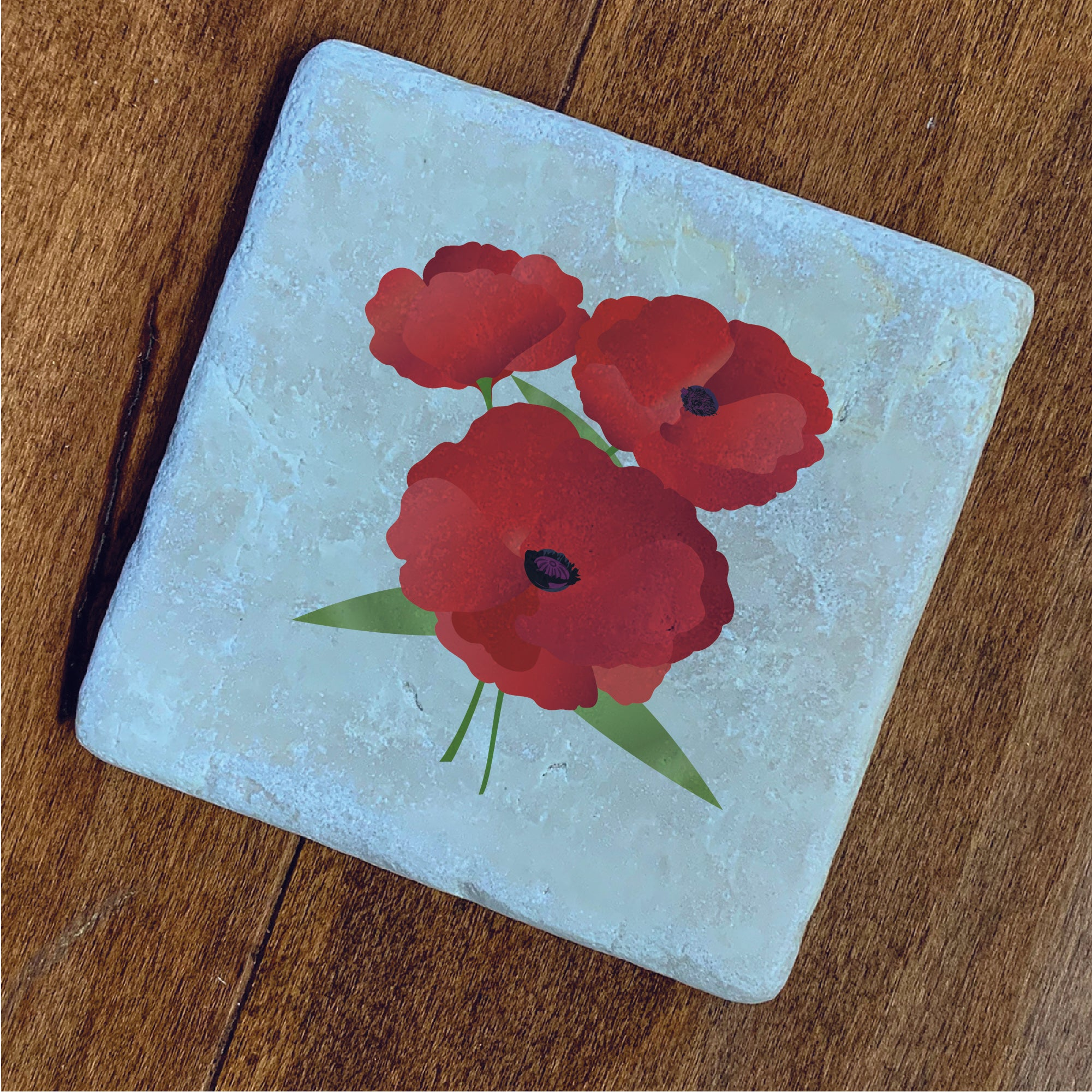Legion Poppy 4pc Natural Stone Coaster - Set #1