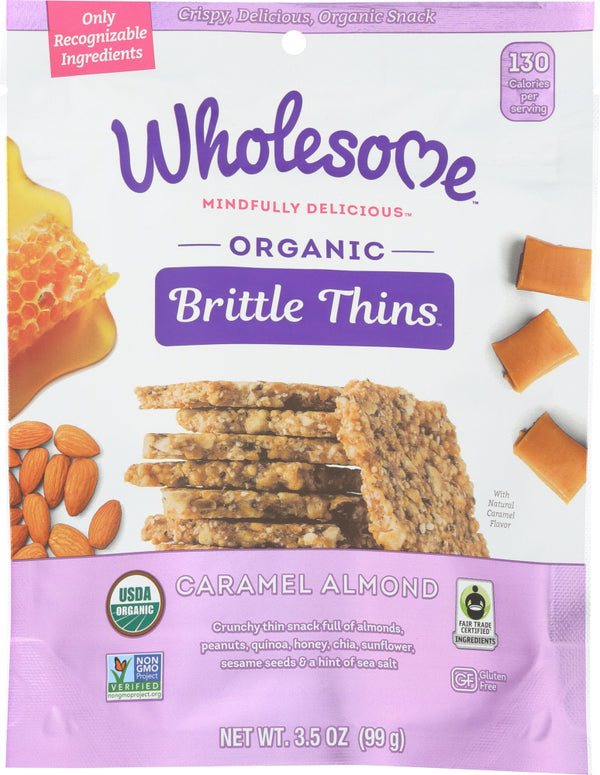 WHOLESOME: Organic Caramel Almond Brittle Thins, 3.5 oz