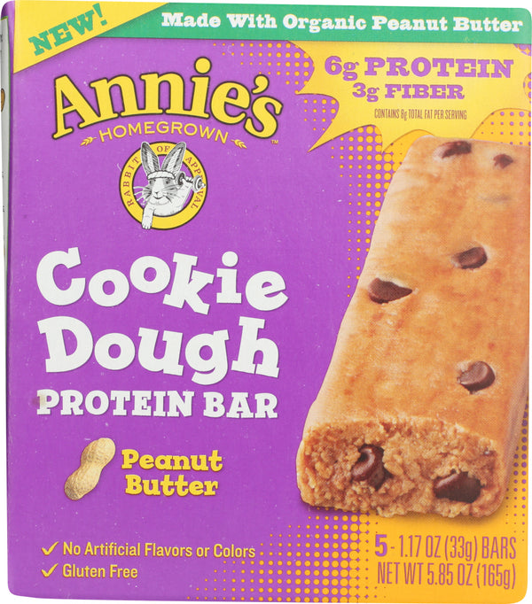 ANNIES HOMEGROWN: Peanut Butter Cookie Dough Protein Bar, 5.85 oz