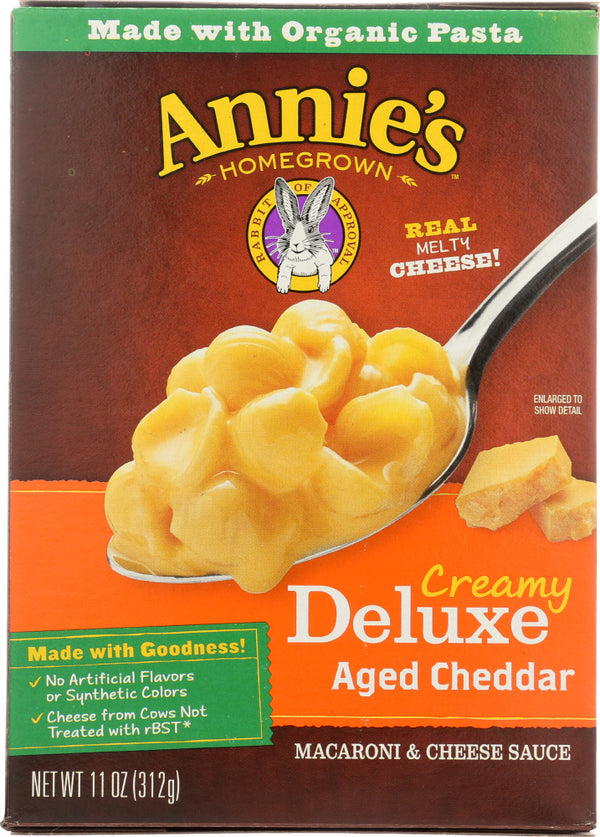 ANNIE'S HOMEGROWN: Creamy Deluxe Shells & Real Aged Cheddar Sauce, 11 Oz