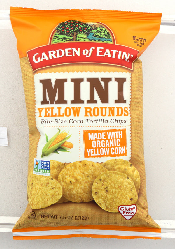 GARDEN OF EATIN: Mini Yellow Rounds Chips, 7.5 Oz