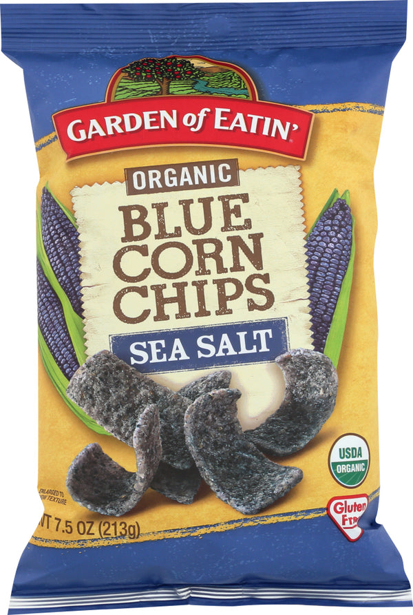 GARDEN OF EATIN: Blue Corn Tortilla Chips Sea Salt, 7.5 oz