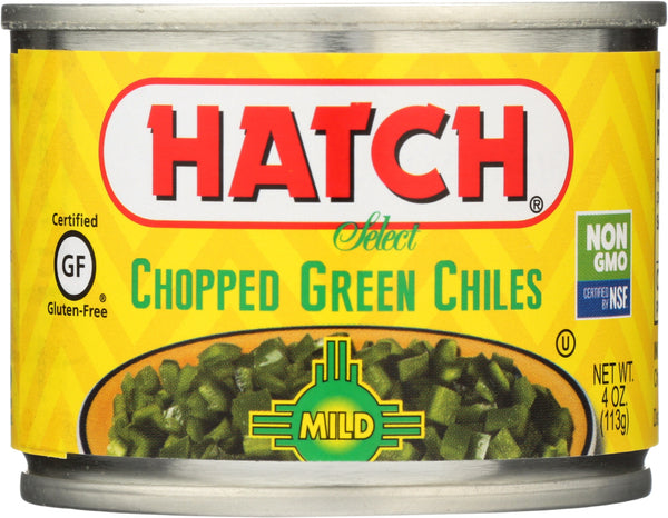 HATCH: Peeled Chopped Green Chiles Mild, 4 oz