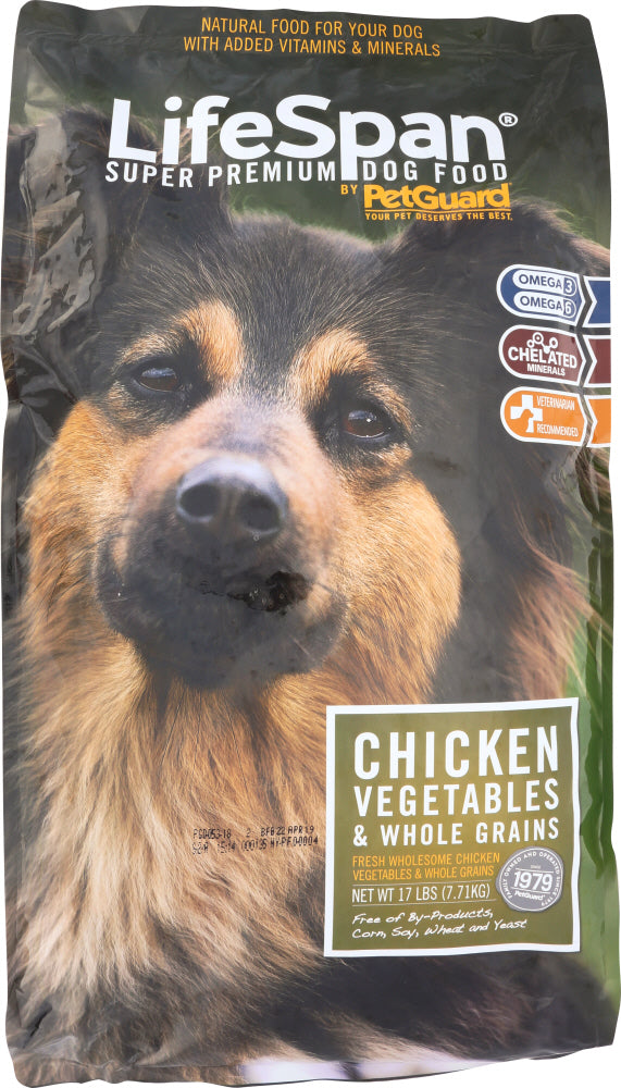 PETGUARD: LifeSpan Premium Dog Food Chicken, Vegetables and Whole Grains, 17 Lb