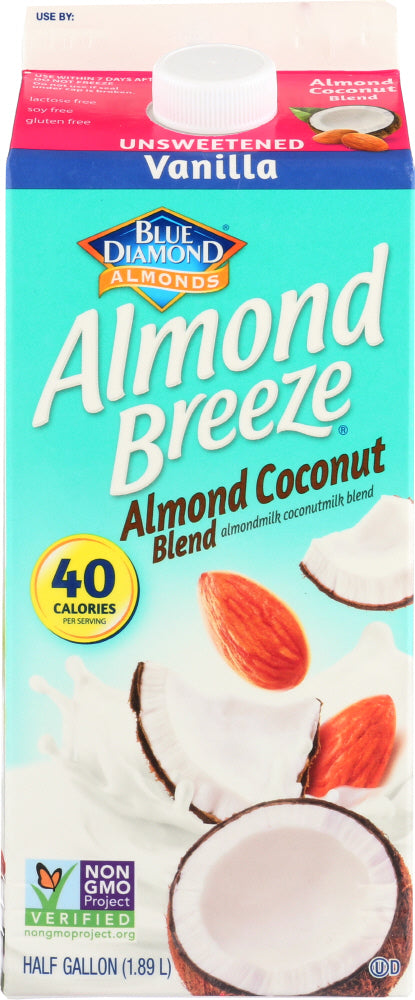 BLUE DIAMOND: Almond Breeze Coconut Blend Vanilla Unsweetened, 64 oz