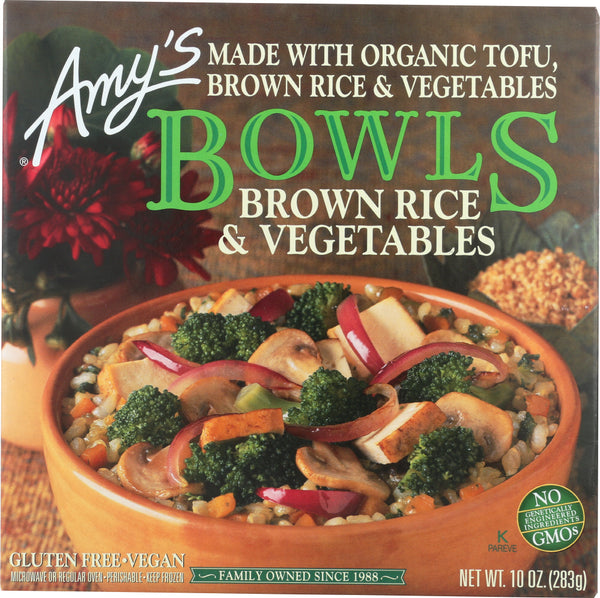 AMYS: Brown Rice and Vegetables Bowl, 10 oz