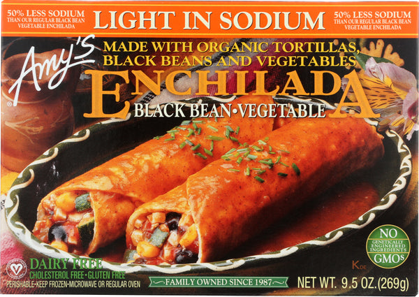 AMY'S: Light in Sodium Black Bean Vegetable Enchilada, 9.5 oz