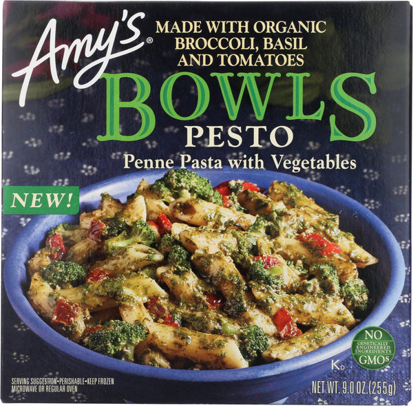 AMYS: Pesto Penne Pasta with Vegetables Bowl, 9 oz