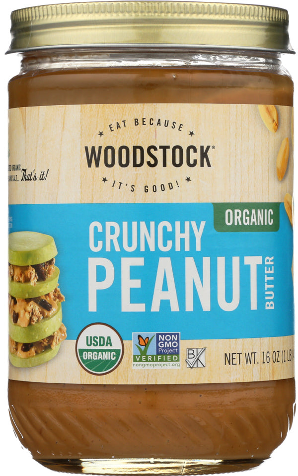 WOODSTOCK: Peanut Butter Crunchy Salted Organic, 16 oz