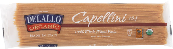 DELALLO: Organic Pasta Capellini Whole Wheat No.1, 16 oz