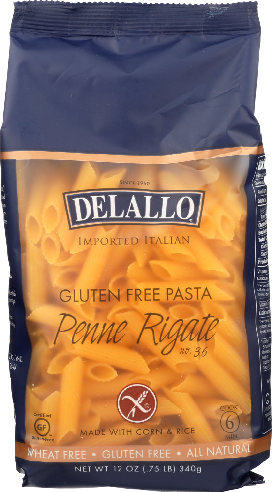 DELALLO: Gluten Free Corn & Rice Penne Rigate, Made From The Best Wheat In Italy, 12 oz