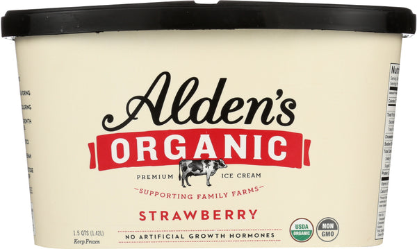 ALDEN'S ORGANIC: Ice Cream  Strawberry , 48 oz