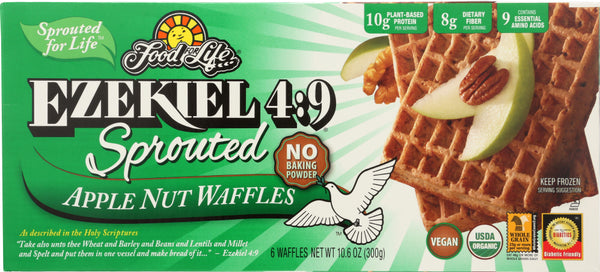 FOOD FOR LIFE: Ezekiel 4:9 Sprouted Apple Nut Waffles, 10.60 oz