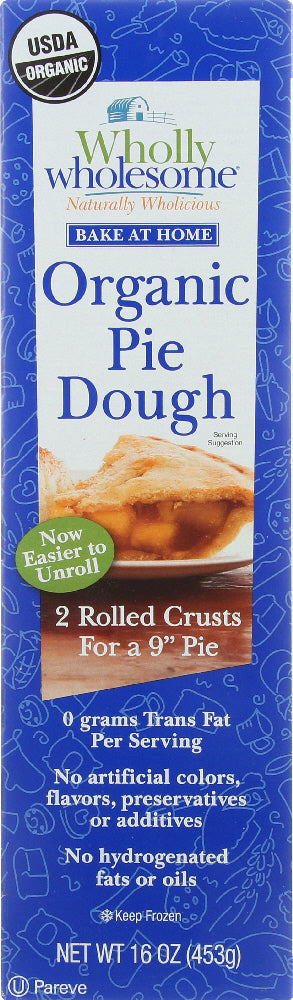 WHOLLY WHOLESOME: Organic Pie Dough 2 Rolled Crusts, 16 oz