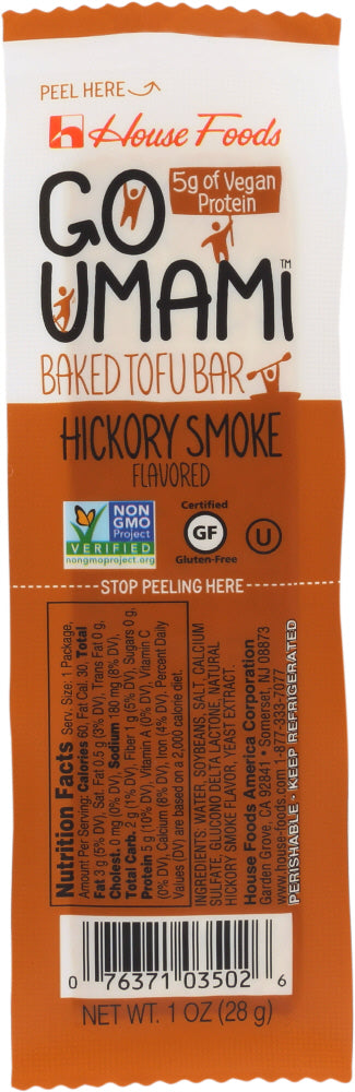HOUSE FOODS: Go Umami Baked Tofu Bar Hickory Smoke, 1 oz