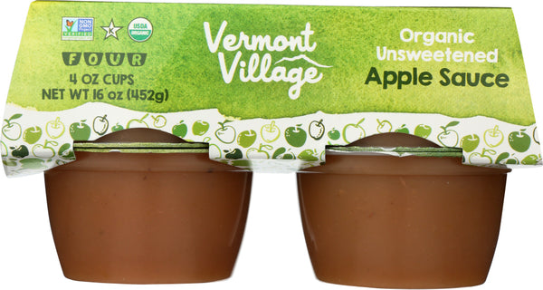 VERMONT VILLAGE: Organic Unsweetened Applesauce 4 Cups (4 Oz Each), 16 Oz