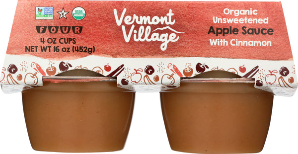 VERMONT VILLAGE CANNERY: Organic Applesauce with Cinnamon 4 Cups, 16 oz