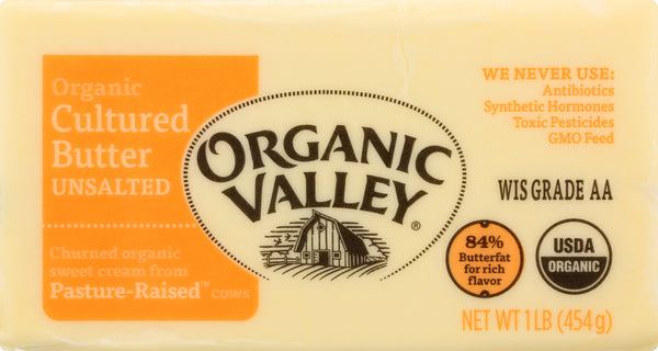 ORGANIC VALLEY: Cultured Unsalted Butter, 1 lb