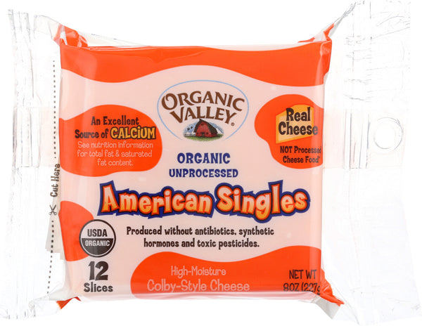 ORGANIC VALLEY: American Singles High Moisture Colby Style Cheese, 8 oz