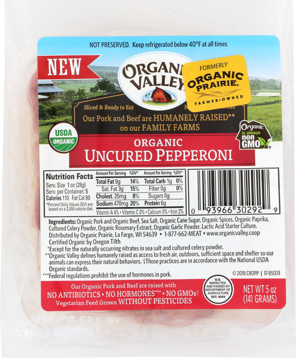 ORGANIC VALLEY: Uncured Pepperoni Slices, 5 oz