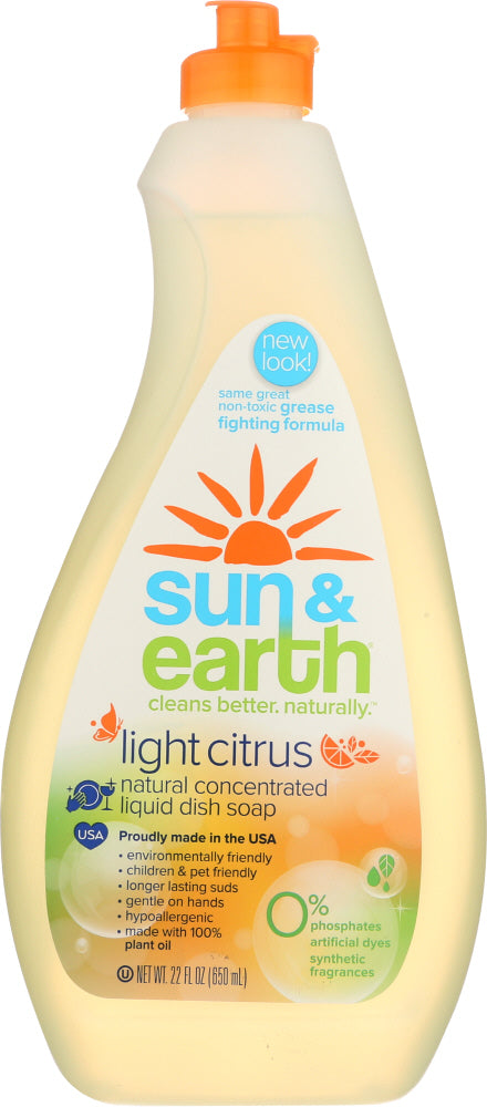 SUN & EARTH: Natural Concentrated Liquid Dish Soap, 22 oz