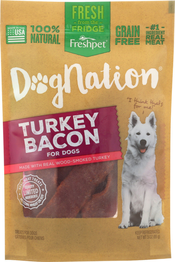 DOGNATION: Dog Treat Turkey Bacon NF, 3 oz