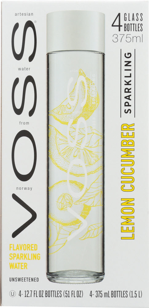 VOSS:  Lemon Cucumber Sparkling Water Glass 4 Pack, 51 fo