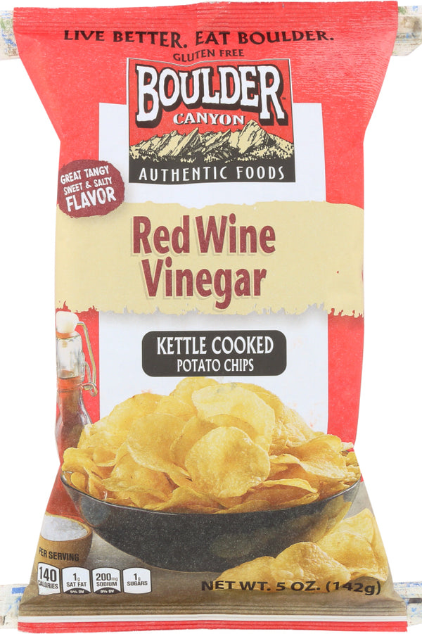 BOULDER CANYON: Red Wine Vinegar Kettle Cooked Potato Chips, 5 Oz