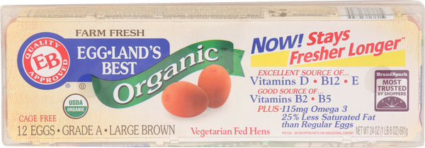 EGGLANDS BEST: Large Brown Eggs Organic, 1 dz