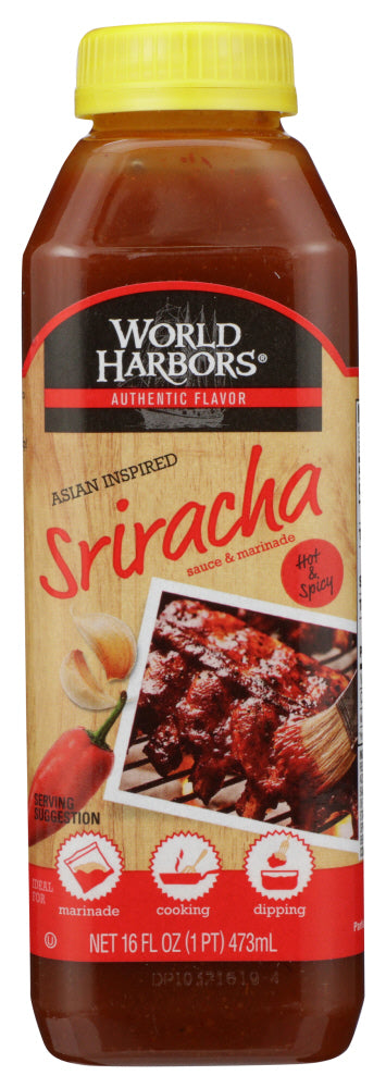 WORLD HARBORS: Marinade Asian Inspired Sriracha Hot and Spicy, 16 oz