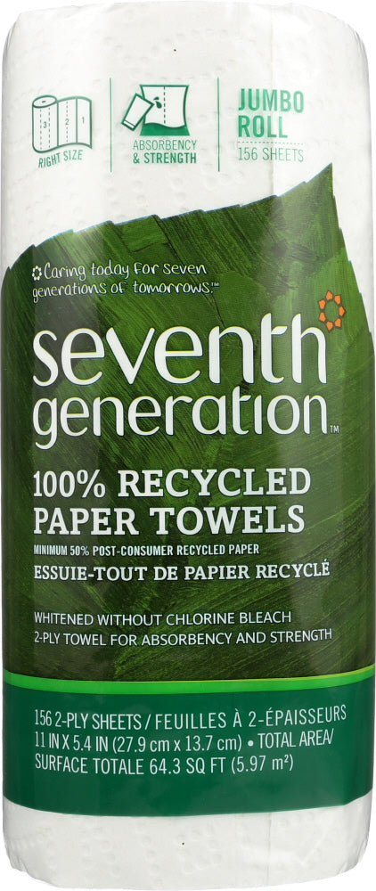 SEVENTH GENERATION: Paper Towel White 1 Roll, 1 ea